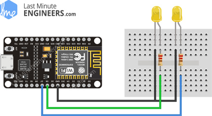 Simple ESP8266 NodeMCU Web Server Wiring Fritzing Connections with LED