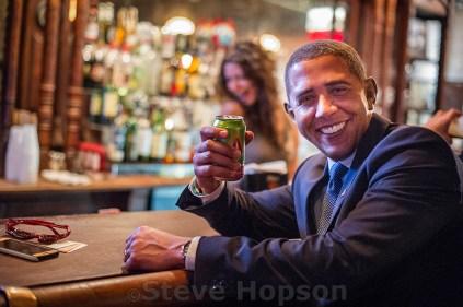 Reggie Brown as President Obama at Stubb's BBQ,