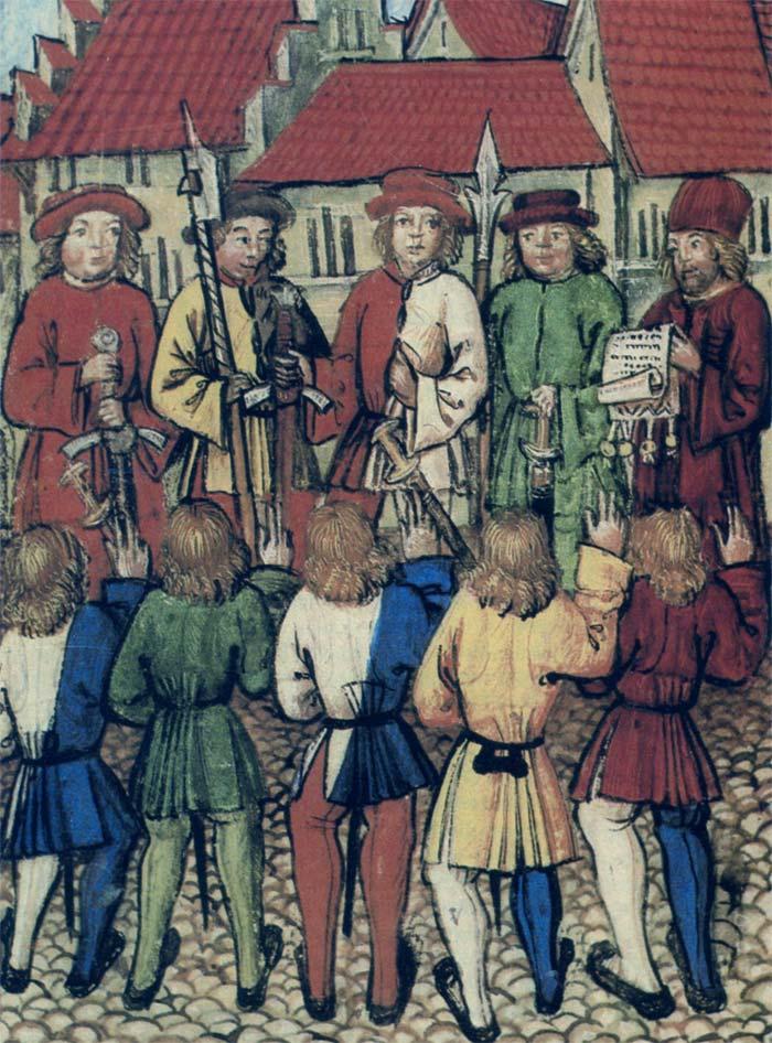 L'adunanza cittadina di Zurigo del 1º maggio 1351; le guardie impugnano alabarde ed azze