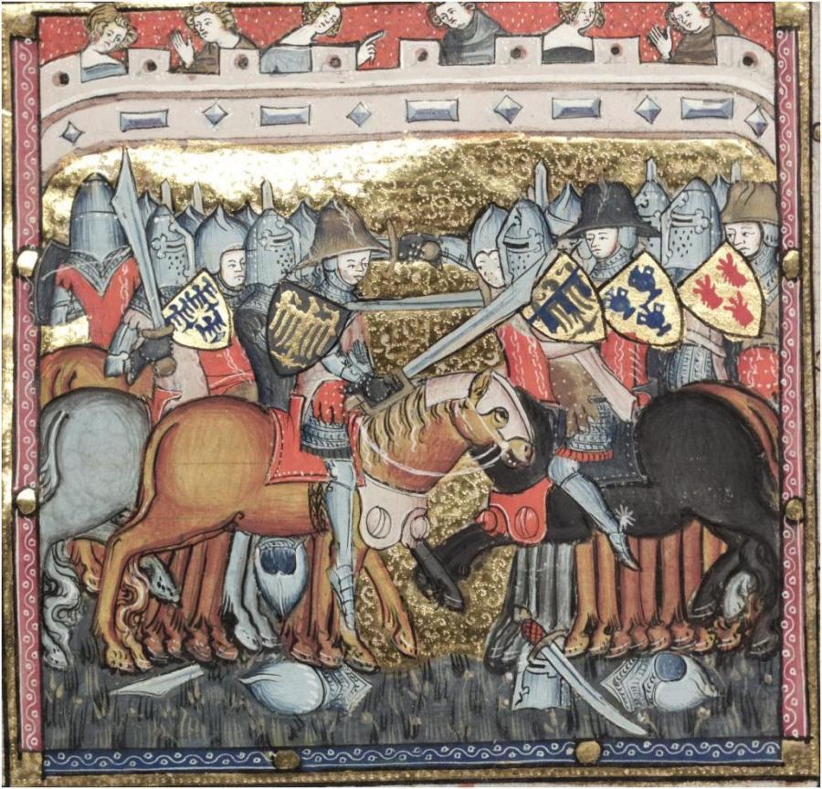 Immagine tratta da Romance du Alexandre, la versione conservata alla Bodleyan Library di Oxford si possono vedere due falcioni, una spada e a terra un falcione dalla chiara forma a sciabola