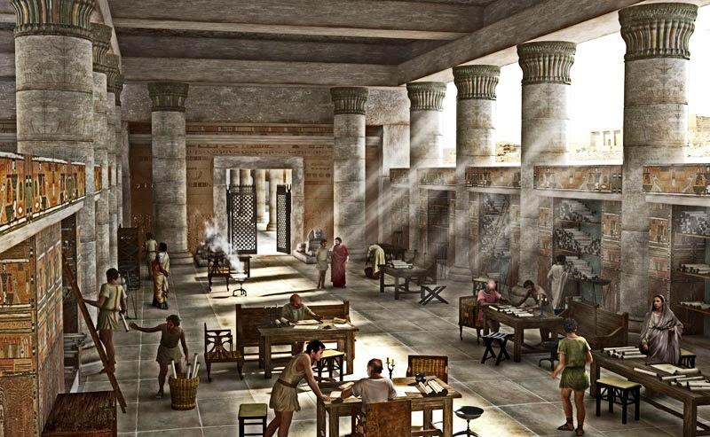 Ricostruzione dell'interno della Biblioteca di Alessandria
