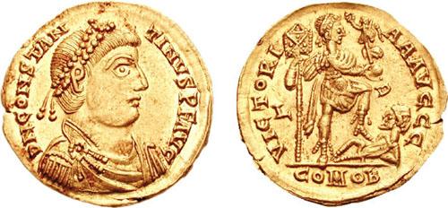 Solido di CostantinoIII, coniato a Lugdunum (Lione)