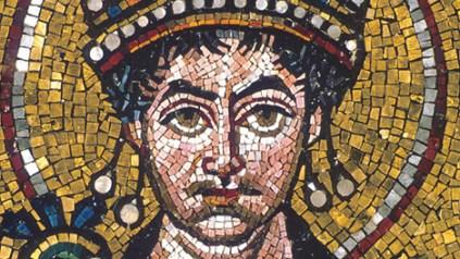 Giustiniano dal mosaico di San Vitale, Ravenna