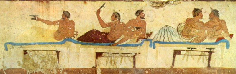 Scena di simposio dalla tomba del tuffatore, Magna grecia, Paestum, 480-470 a.C. Parete Nord
