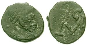 """Monogramma di Ricimero su una moneta coniata da Libio Severo, uno degli """"imperatori-fantoccio"""" messi sul trono da Ricimero"""