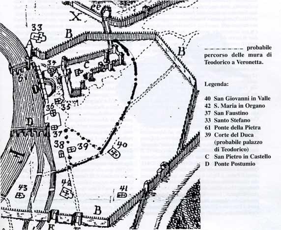Planimetria storica della cosiddetta Veronetta: area collinare sull'Adige sede della cittadella gota.