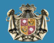 Stemma Del Balzo inquartato con corno azzurro su fondo d'oro