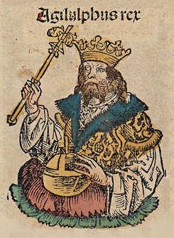 Il re Agilulfo in una miniatura delle Cronache di Norimberga
