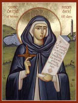 Raffigurazione di Santa Brigida con la caratteristica croce di giunchi