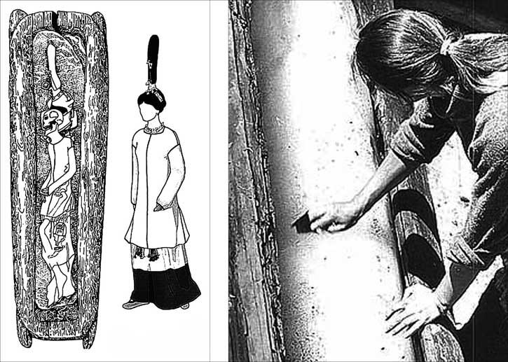 A destra: l'apertura della bara con ancora il ghiaccio all'interno; a sinistra disegno della posizione del corpoe riscotriuzione del costume indossato Immagini: Institute of Archeology and Ethnography, Siberian Branch of Russian Academy of Science