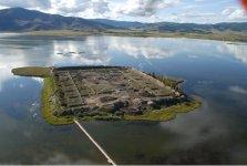 Veduta aerea del lago di Tere-Khol e isola Por-Bajin