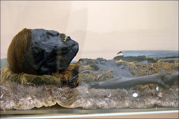 una delle mummie di maschio adulto rinvenute nel sito Foto: The Siberian Times, Natalya Fyodorova