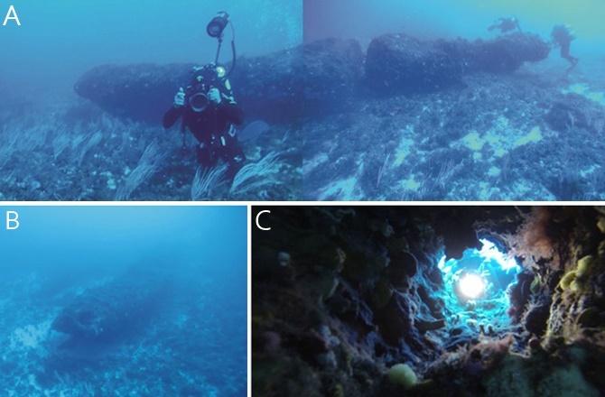 Il monolito nel canale di Sicilia (Foto: National Institute of Oceanography and Experimental Geophysics)