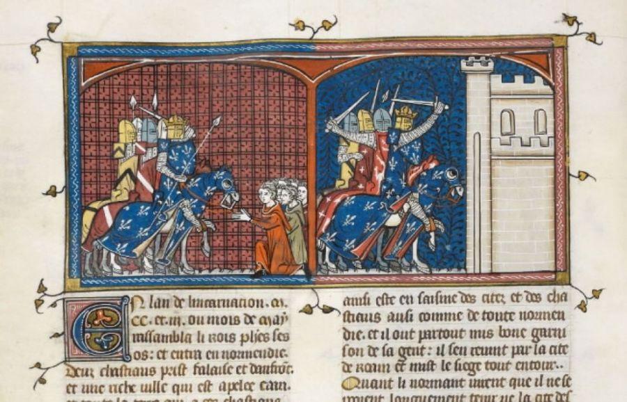 Il codice del XIV secolo che racconta dell'invasione francese della Normandia (Grandes chroniques de France - British Library Royal MS 16 G VI, f. 365v, dettaglio)