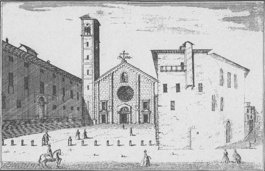 San Giovanni in Conca e a destra la Cà di Can, residenza di Bernabò visconti