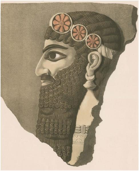 Testa di figura alata con diadema da The Monuments of Nineveh di Layard