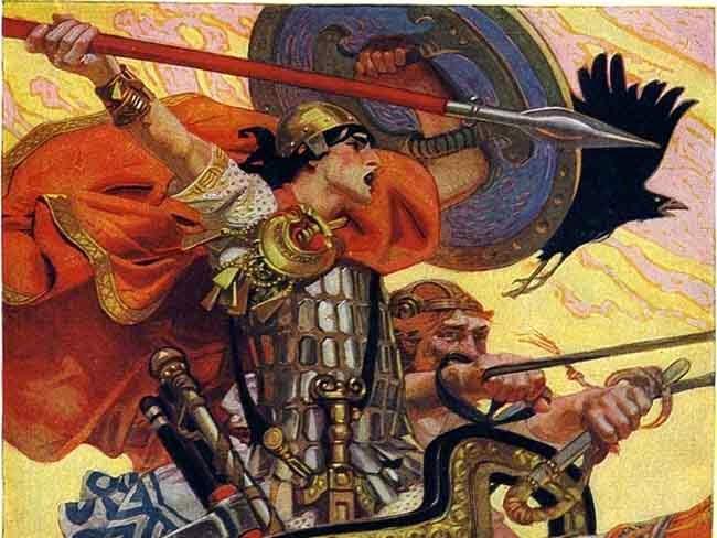 """Cuchulain in Battaglia"", 1911, dipinto di Joseph Christian Leyendecker"