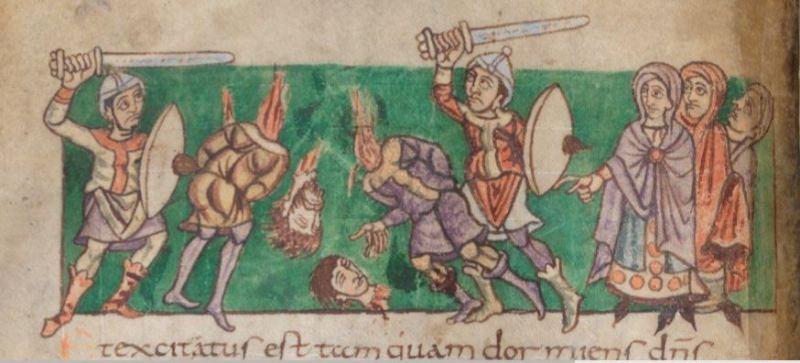 Immagine dal Salterio di Stoccarda, anno 820-830, manoscritto carolingio realizzato nell''Abbazia di St. Germain-des-Prés a Parigi. I pomoli delle spade corrispondono al tipo 2 nella classificazione cronologica di Petersen