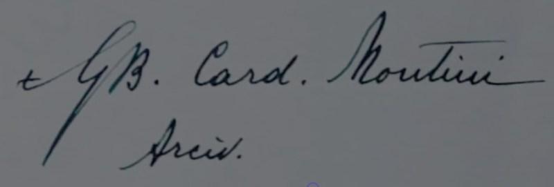 Firma dell'allora Cardinale in Milano Giovanni Battista Montini. Visibile la piccola croce all'inizio della firma.