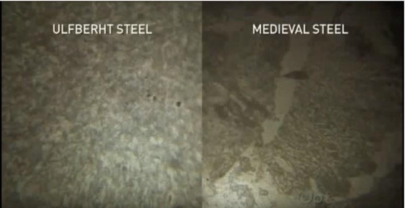 """Confronto al microscopio tra acciaio Ulfberht a sinistra e comune acciaio medievale a destra (immagine tratta dal documentario """"Secret of the viking sword"""")"""