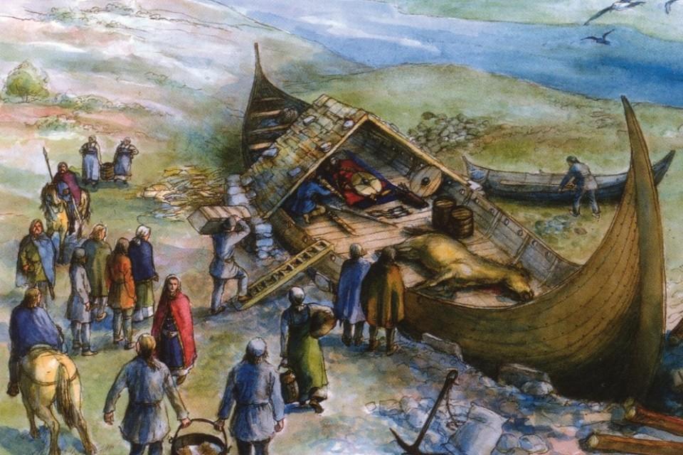 Ricostruzione della nave funeraria di Avaldsnes sull'isola di Karmøy.