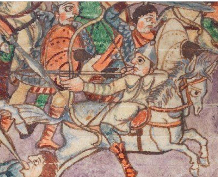 Dettaglio dal Salterio di Stoccarda folio 71v. L'arco potrebbe essere di tipo composito.