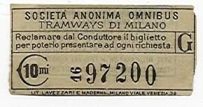 """Biglietto della Società Anonima Omibus di Milano dove campeggia addirittura il plurale del termine inglese """"tramways"""""""