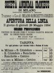 """Orari del """"tramway"""" Milano-Corsico del 1884"""
