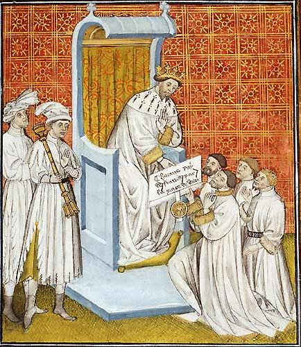 Clotario II stipula trattati con i Longobardi, miniatura da Grandes Chroniques de France - Bibliotèque Municipale de Toulouse