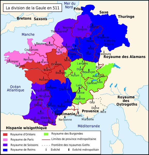 Divisione del regno tra i quattro figli di Clodoveo dopo la sua morte (511)