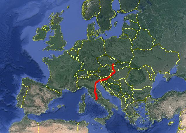 Il percorso seguito da Karel nel suo cammino a piedi dalla Moravia a Roma (Foto: https://www.facebook.com/kareltorome/)