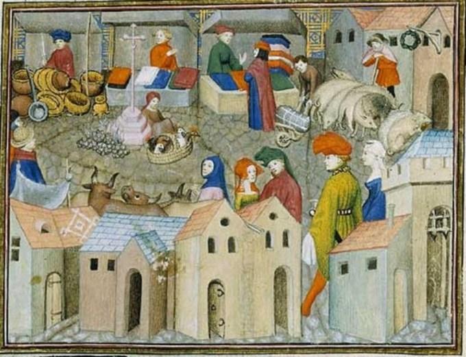 Mercato da Il cavaliere errante, 1400-1405. Parigi, BnF, département des Manuscrits, Français 12559, fol. 167