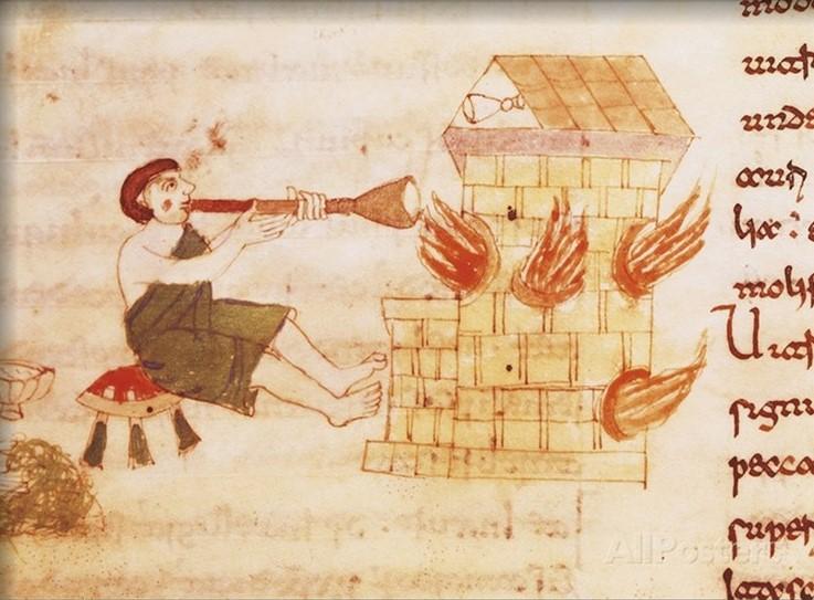 Soffiatore di vetro, Miniatura dal De Universo (o De rerum naturis) di Rabano Mauro (780 circa - 856), Manoscritto di Montecassino, 1026 ca