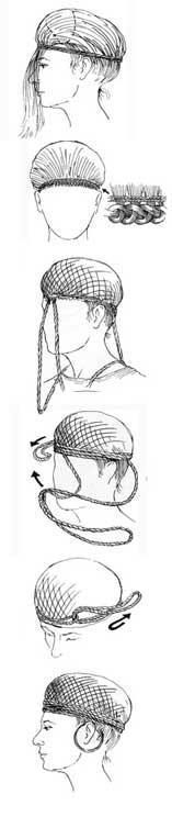 Ricostruzione grafica dell'acconciatura ottenuta tramite una reticella in crini di cavallo, e una corda in lana che raccoglieva i capelli portati tutti verso davanti (Immagine: Museo Nazionale di Danimarca)