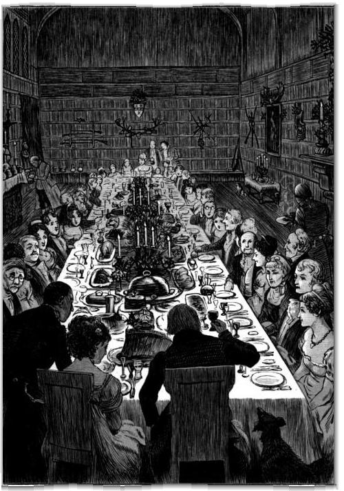 "Illustrazione da ""The Christmas Dinner"", uno dei racconti natalizi della raccolta ""The Sketch Book"" di Washington Irving"