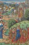 Dall'alto in basso: la battaglia tra Cramno e i Bretoni; l'incendio dle monastero di San Martino di Tours e la morte di Cramno e della sua famiglia. Miniatura da Chroniques Francaises. , Rouen, France