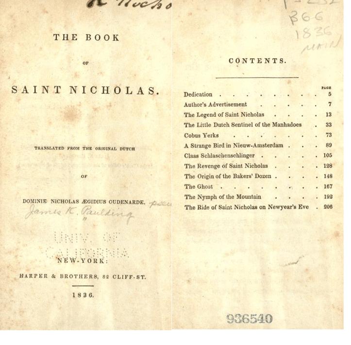 Frontespizio e indice del Book of St.Nicholas di James Paulding (Immagini da <a href=https://archive.org> archive.org</a>)