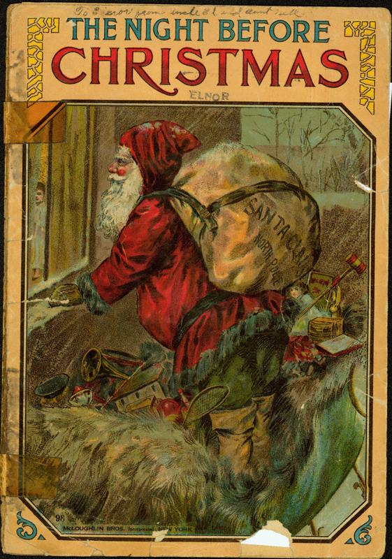 """copertina di """"The night before Christmas"""" in un'edizione del 1900 diMcLoughlin Bros"""