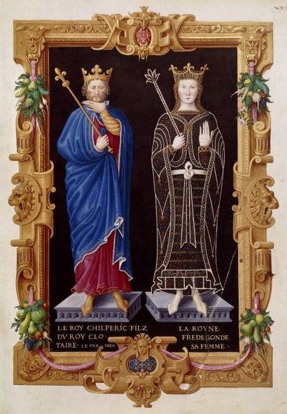Chilperico I e Fredegonda, sua terza moglie. Recueil des rois de France di Jean du Tillet . BNF , Fr. 2848, circa 1550