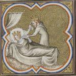 Chilperico strangola nel sonno Galsuintha, miniatura da le Grandes Chroniques de France, 1375-1380,Paris, BnF, ms. Français 2 813, fo 31ro