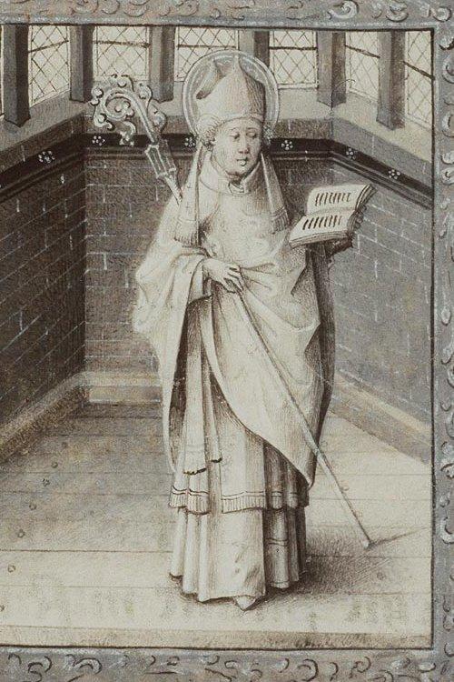 """Saint Germain, vescovo di Parigi all'epoca della """"faida reale"""" da un'illustrazione di Jean le Tavernier (c. 1450-1460)."""