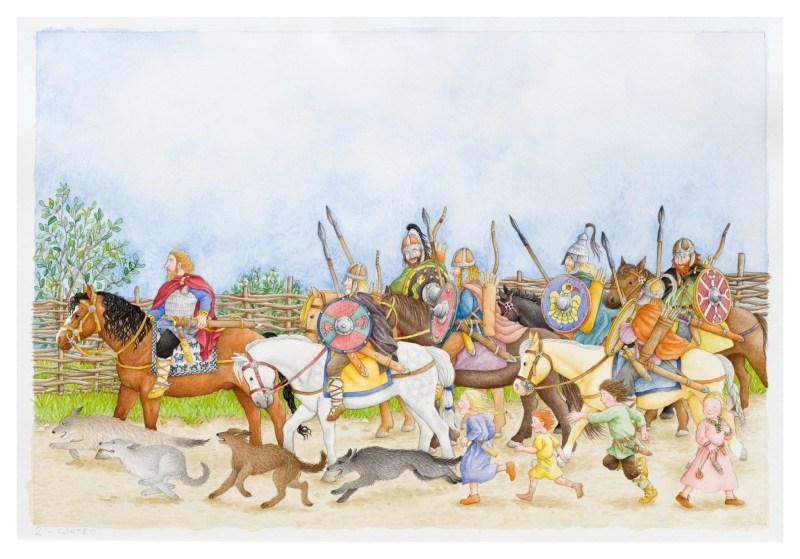 """Il corteo del Duca composto da numerosi cavalieri dettagliatamente illustrati, dal libro """"Una giornata con Berta"""""""