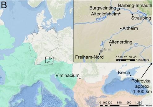 Ubicazione dei siti archeologici dai quali sono stati analizzati i genomi