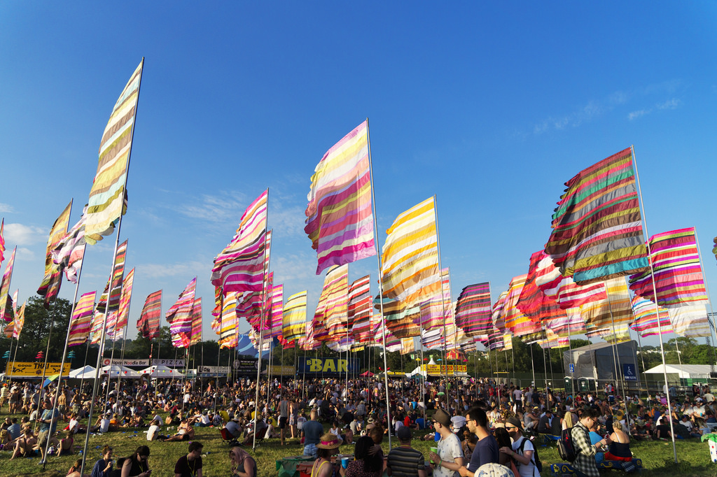 flags at Glastonbury festival
