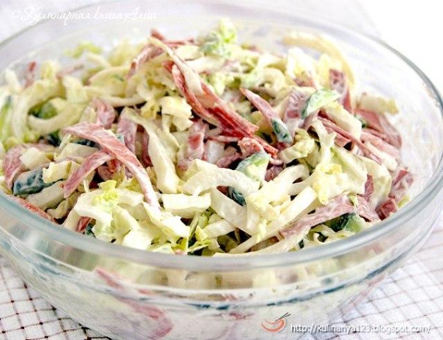 Швейцарский новогодний салат рецепт, Швейцарский новогодний салат как приготовить, салат с копченостями рецепт