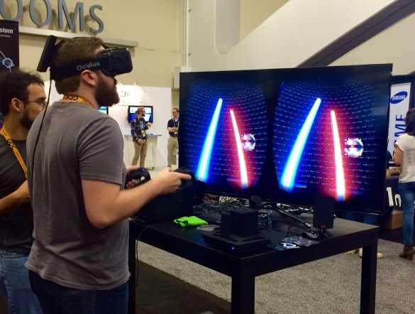 OMG Light sabers in virtual reality!!