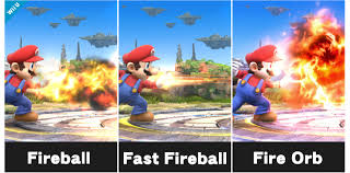 This is an example of Mario having custom moves for a certain special. The special move on the left is his default fireball, while the other two can be obtained by farming them.