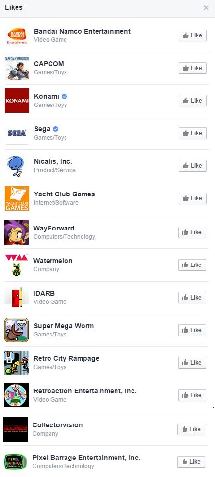 While this list of Retro's liked pages should be taken with a grain of salt, imagine the possibilities!