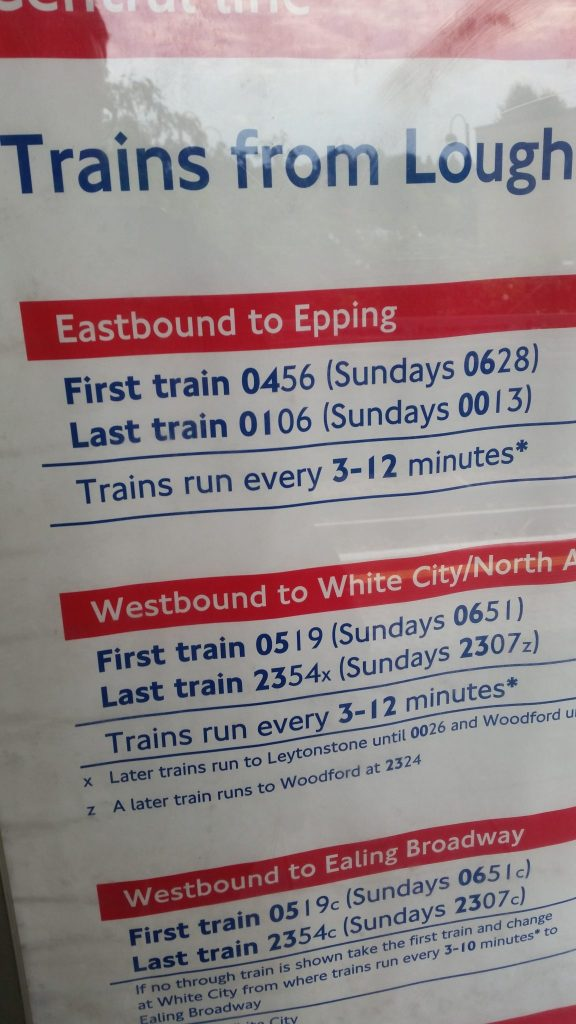 last train central line eastbound to epping