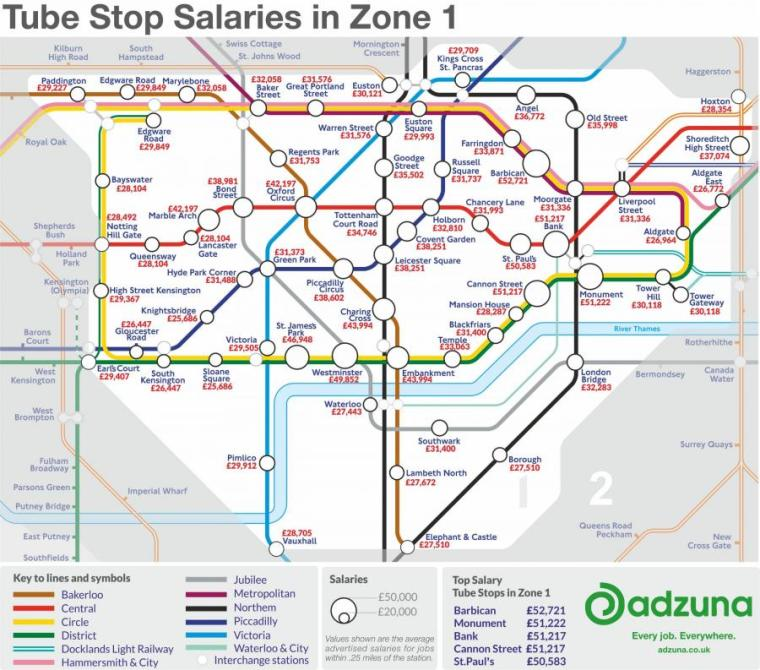 tube map wages - Tube map reveals how much workers earn near London's stations